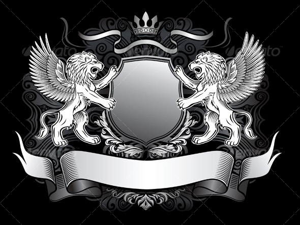 Winged Lion and Shield Insignia - Characters Vectors