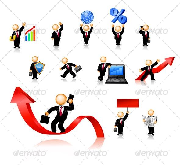 Businessmen Icon Set - Characters Vectors