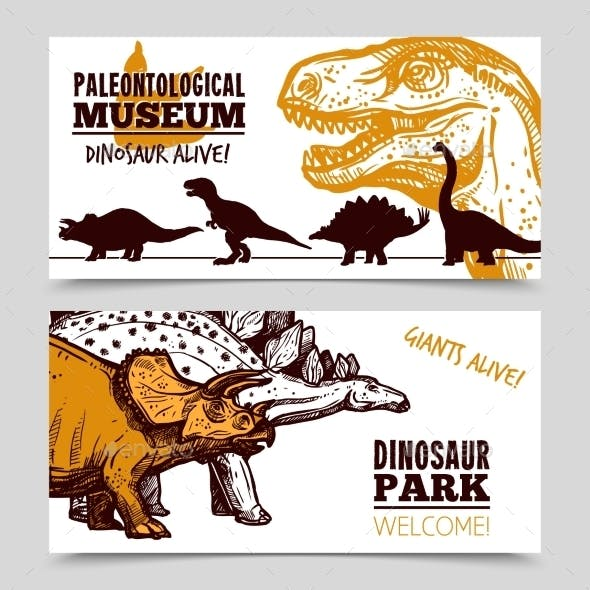 Dinosaurs Museum Exposition 2 Banners Set