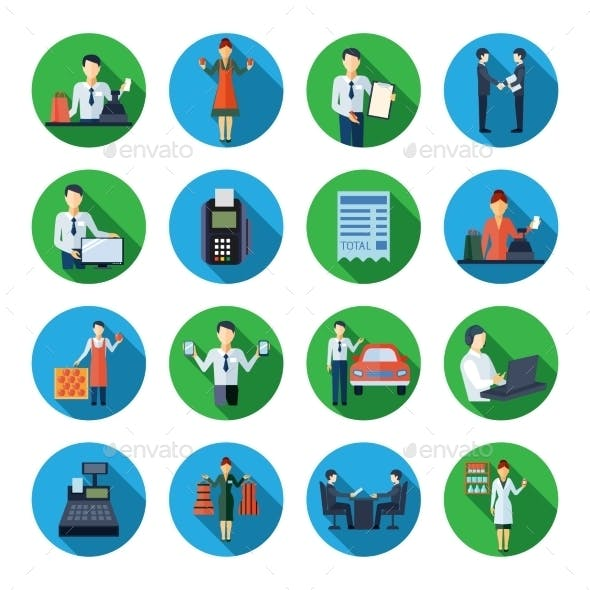 Salesman Flat Round Icons Set