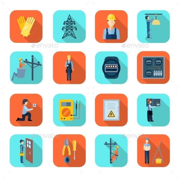 Electricity Man Professional Flat Icons Collection