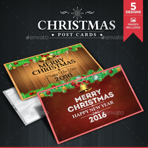 Christmas Post Cards - 5 Designs - Images Included