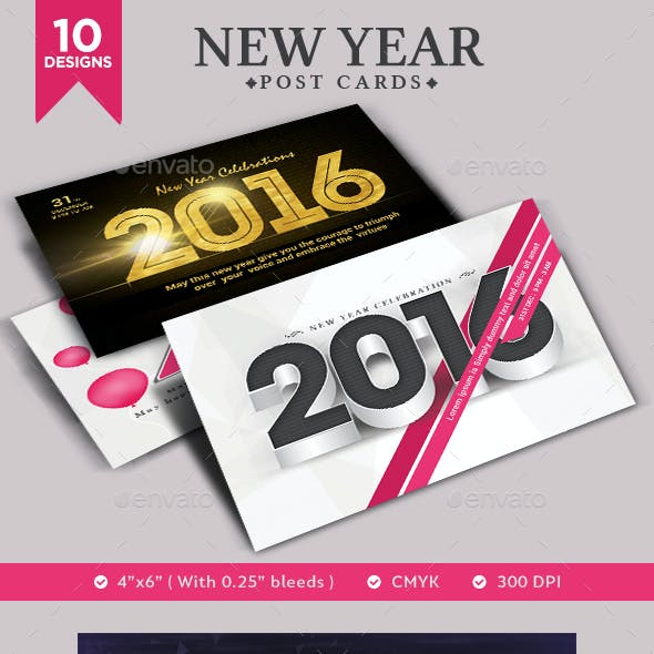 New Year Post Cards - 10 Designs
