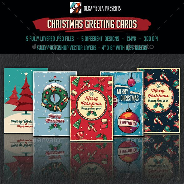 Merry Christmas Greeting Cards / Posters. New Year Backgrounds