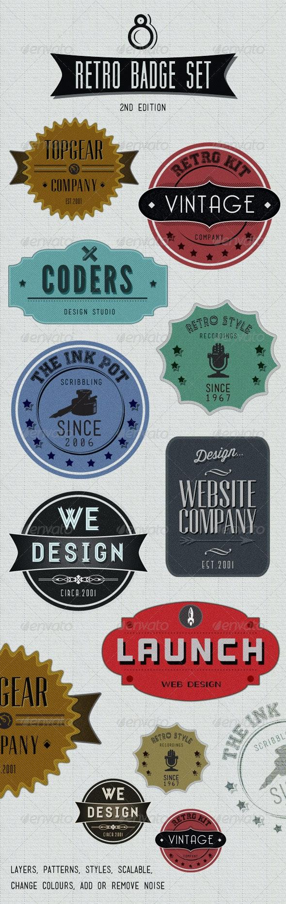 Retro Badges - Faded Vintage Labels - V.2 - Badges & Stickers Web Elements