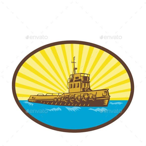 River Tugboat Oval Woodcut