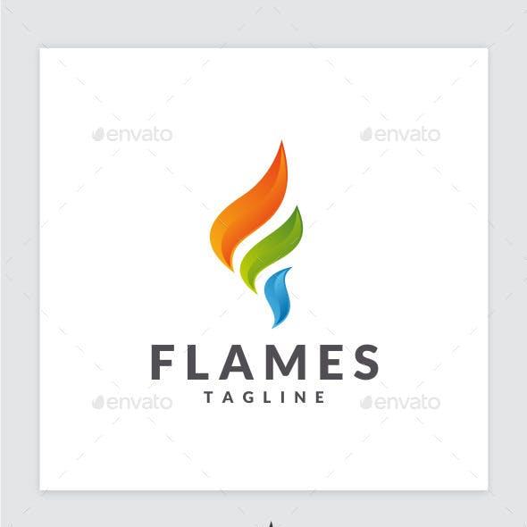 Flames - Letter F Logo