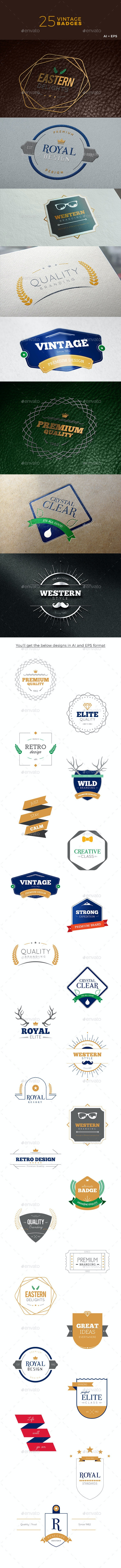 Vintage Badges - Badges & Stickers Web Elements
