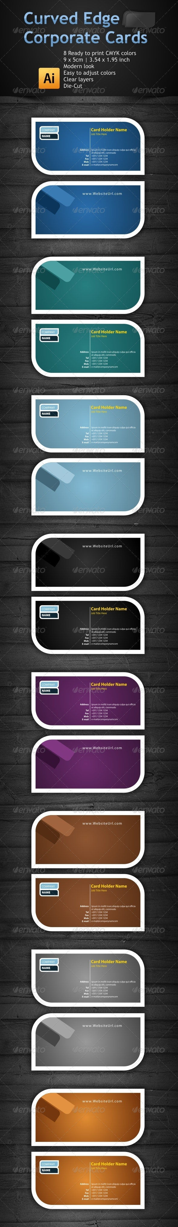 8 Colored Curved Edge Business Cards - Business Cards Print Templates