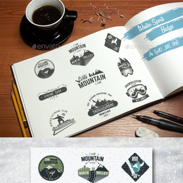 Winter Sports & Camping Badges Set