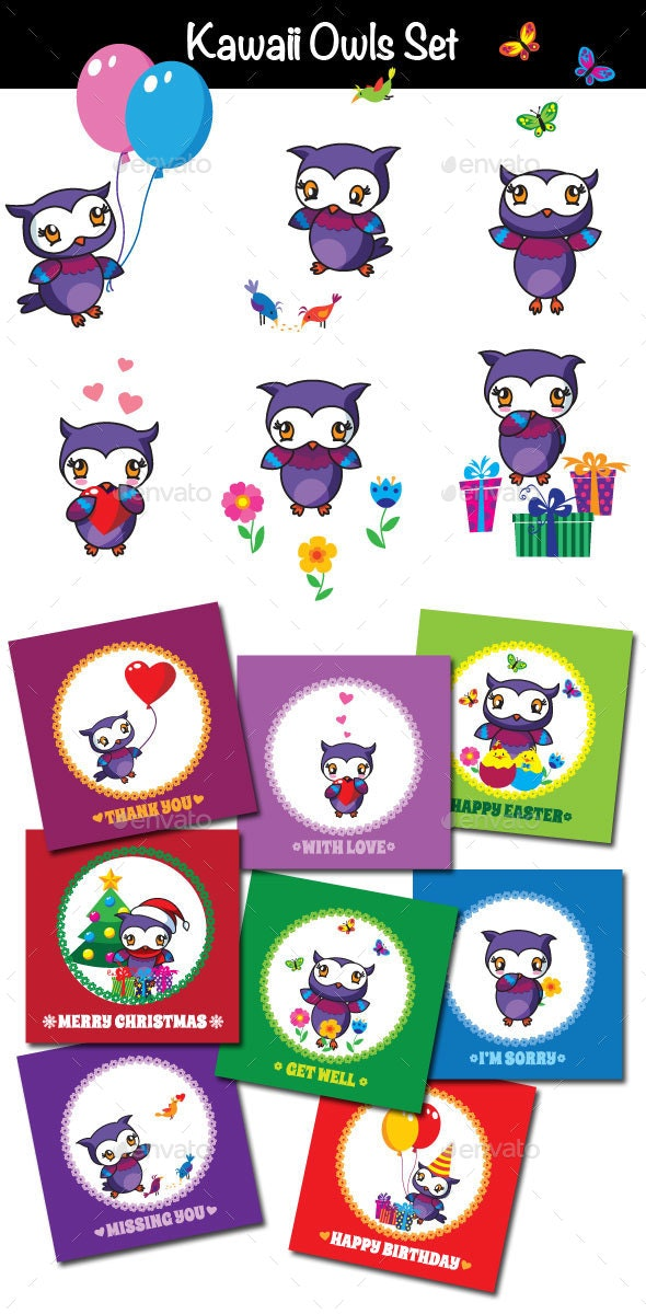 Kawaii Owls Set of Cards - Animals Characters