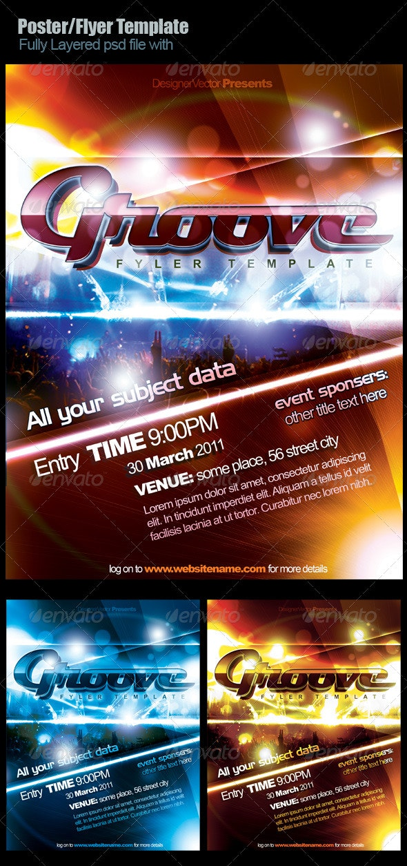 Groove Flyer/Poster Template - Clubs & Parties Events