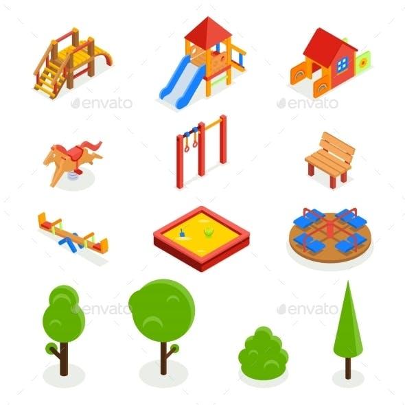 Kids Isometric 3D Playground. Vector Icon Set