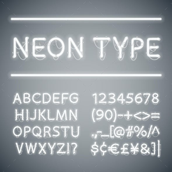 White Glowing Neon Type