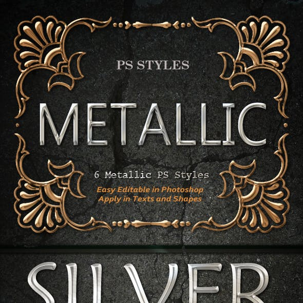 6 Metallic Text & Shapes Effects Styles ASL