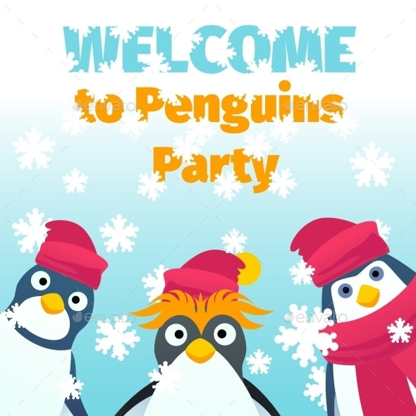Winter Party Invitation - Animals Characters