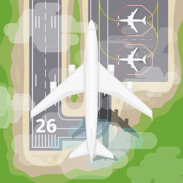 Landing Airplane - Miscellaneous Vectors