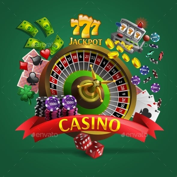 Casino Poster on Green Background
