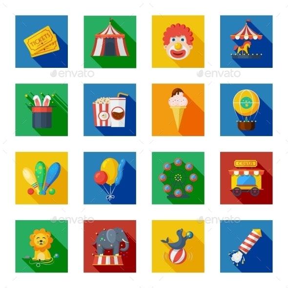 Circus Icons Flat