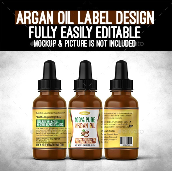 Argan Oil Bottle Label - Packaging Print Templates