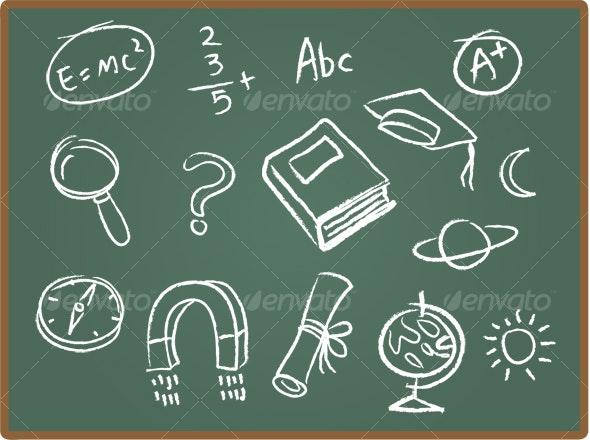 School Icons on ChalkBoard 1 - Decorative Symbols Decorative