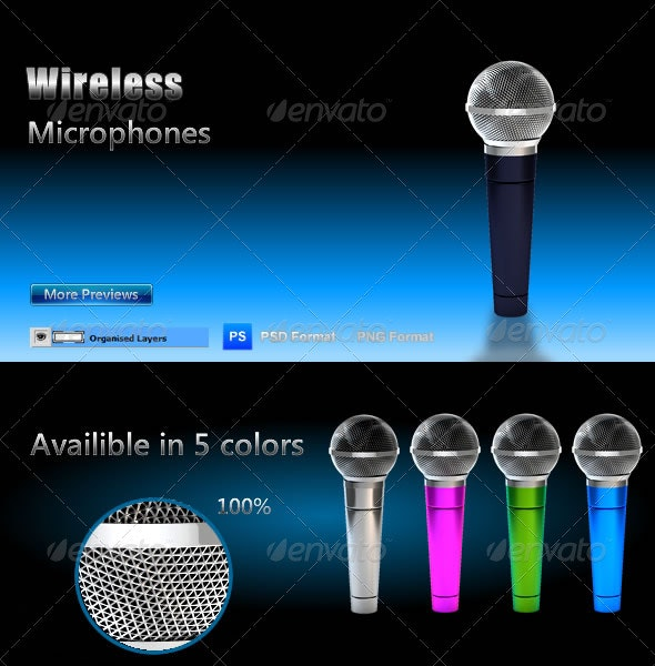 Wireless Microphone - Objects 3D Renders