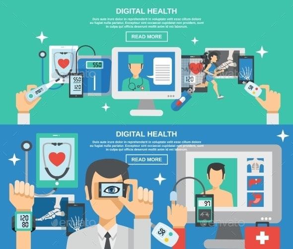 Digital Health Banner Set - Health/Medicine Conceptual