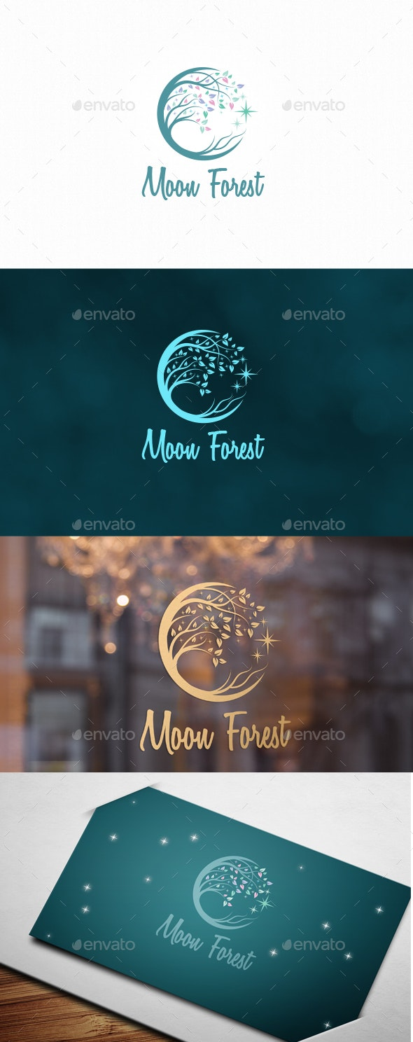 Moon Forest Logo - Nature Logo Templates