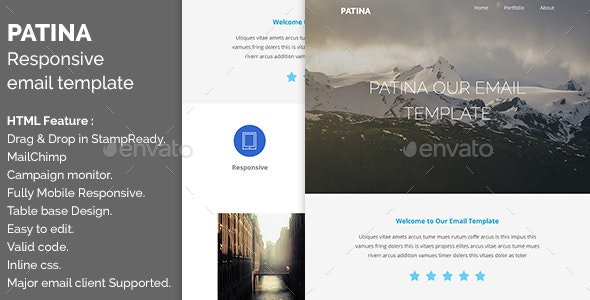 Patina - Responsive Email with Online Editor - E-newsletters Web Elements