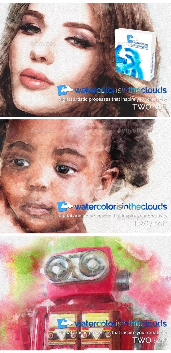 Watercolor TWO - Artistic Photo Templates