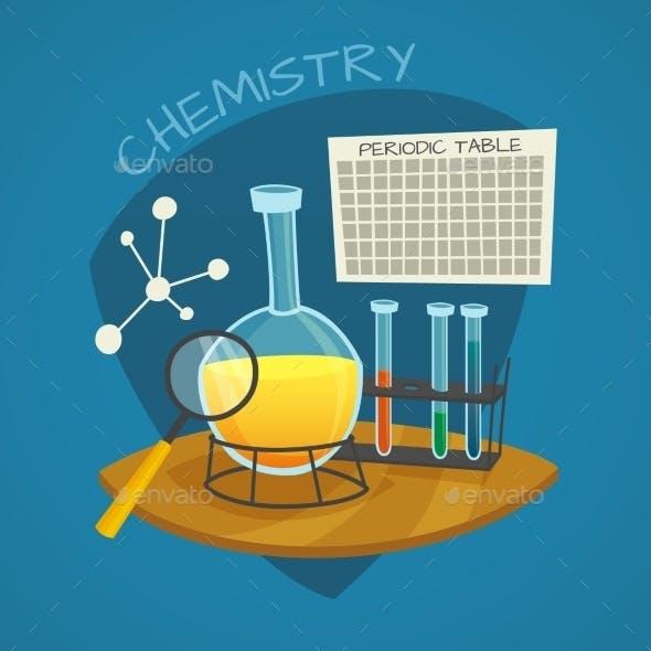 Chemical Laboratory Cartoon Icons Set