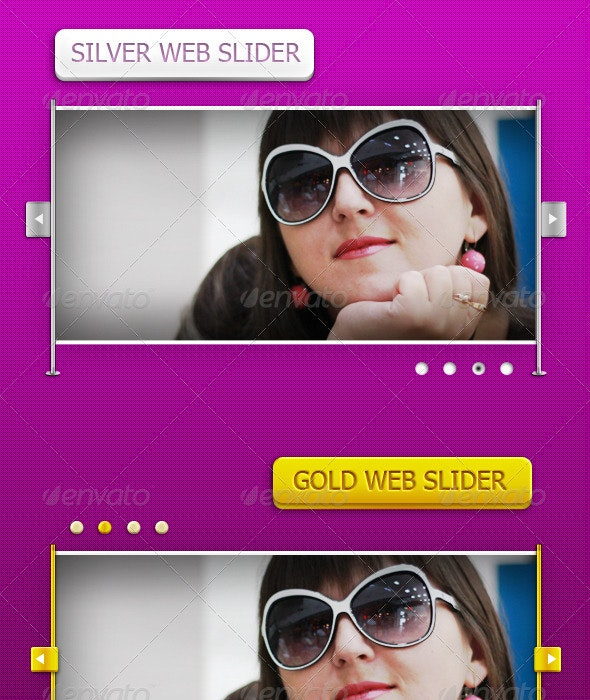 Silver and Gold Web Sliders - Sliders & Features Web Elements