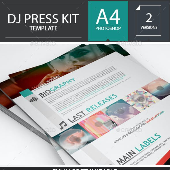 Dj / Musician Press Kit / Resume PSD Template