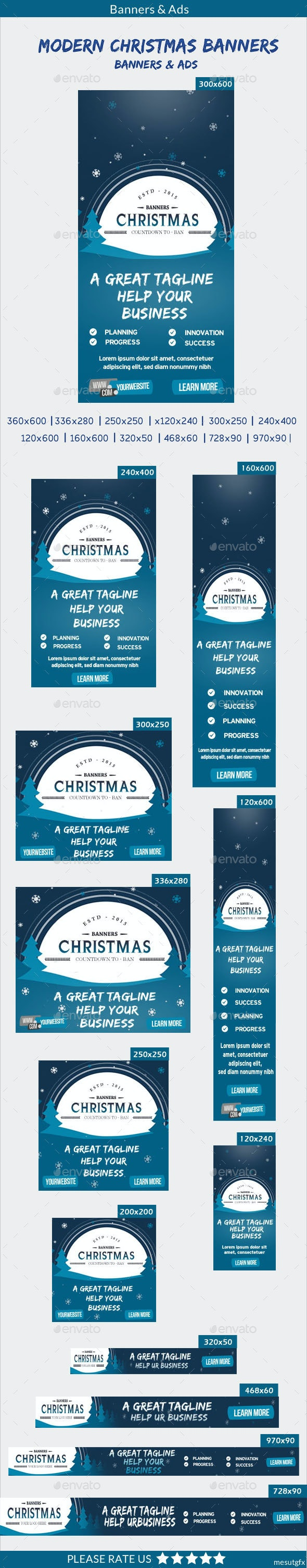 Modern Christmas Banners - Banners & Ads Web Elements