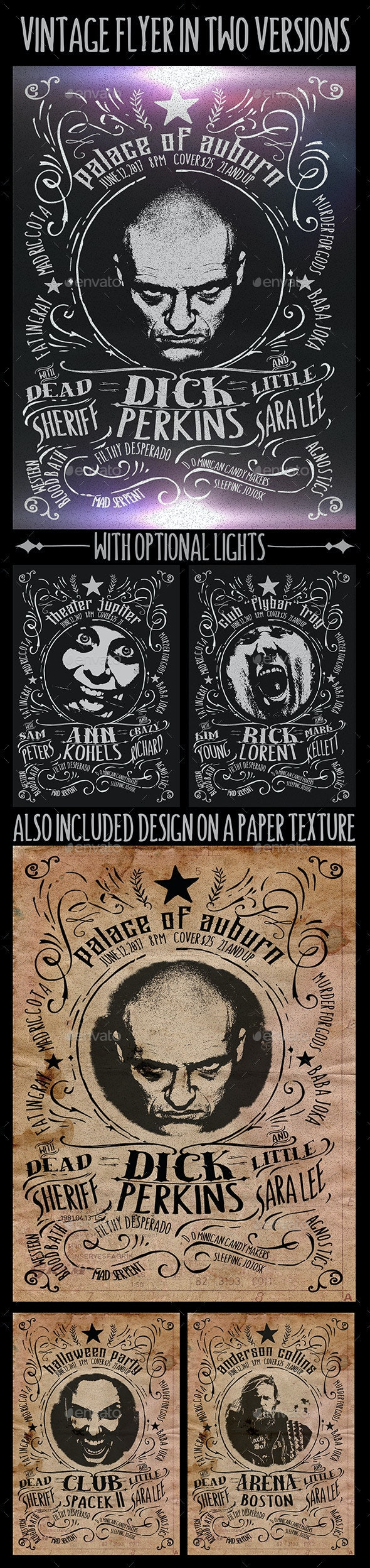 Unique Vintage Flyer in Two Versions  - Retro/Vintage Business Cards