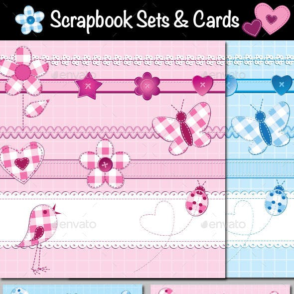 Scrapbook Sets and Cards or Photo Frames Templates