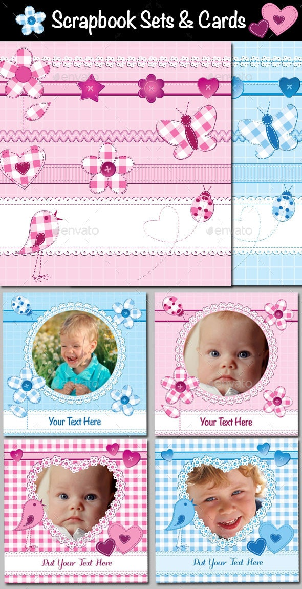 Scrapbook Sets and Cards or Photo Frames Templates - Backgrounds Decorative