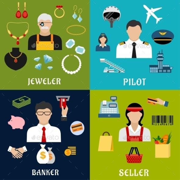 Seller, Banker, Pilot And Jeweler Professions