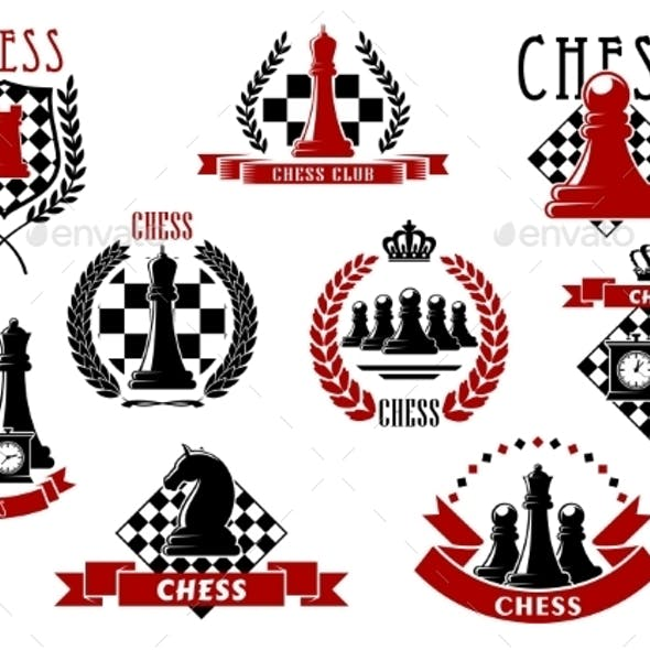 Chess Icons With Red And Black Chessmen