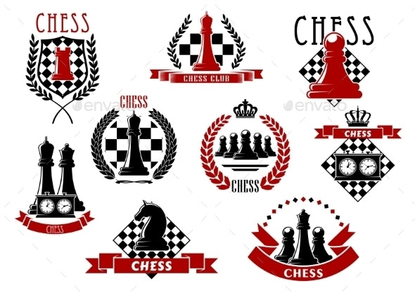 Chess Icons With Red And Black Chessmen - Sports/Activity Conceptual