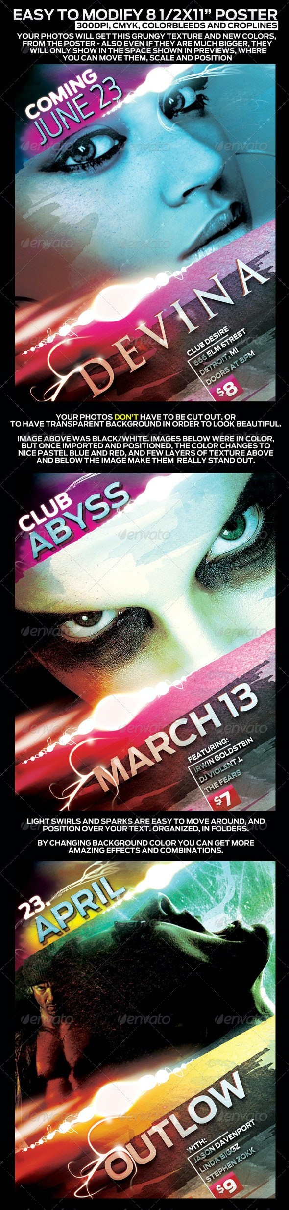 """Poster Design Template in 8.5""""x11"""" - Easy To Tweak - Clubs & Parties Events"""