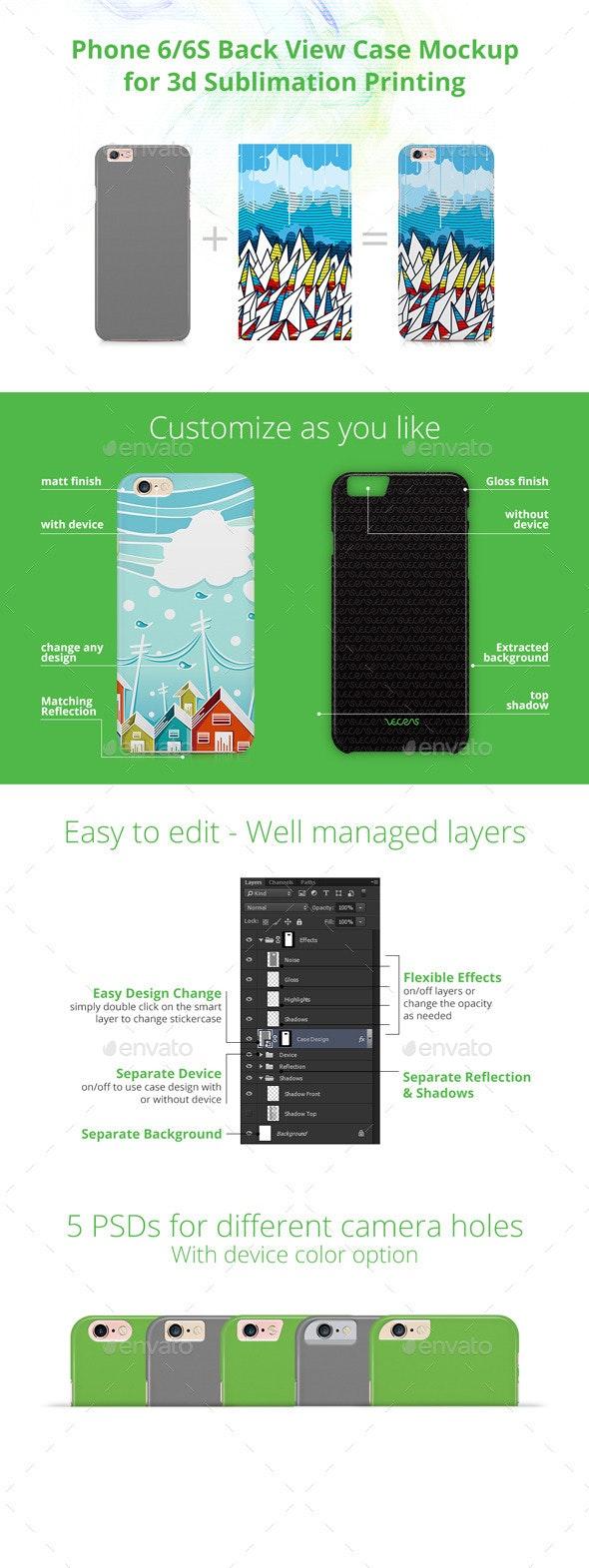 Phone 6/6S 3d Case Design Mockup- Back View - Mobile Displays