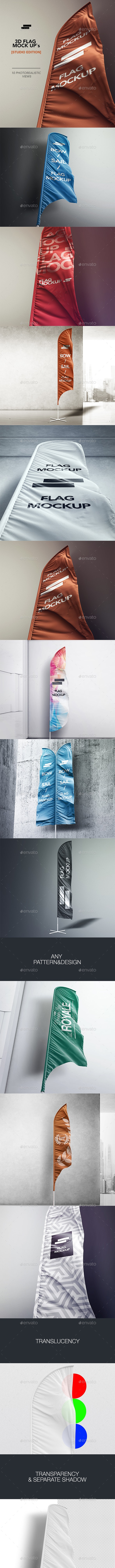 3D Flags Feather / Bow / Sail Flag Mockup - Signage Print