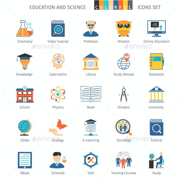 Education and Science Colorful Icons