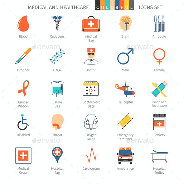 Medical And Healthcare Colorful Icons