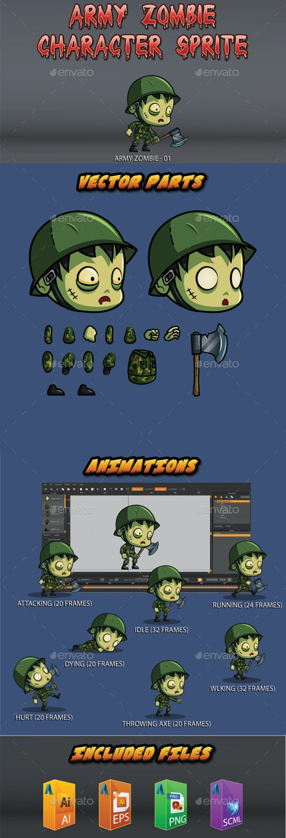 The Army Zombie Character Sprite