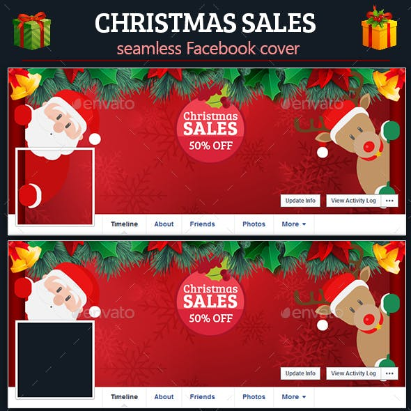 Christmas Sales Facebook Seamless Cover