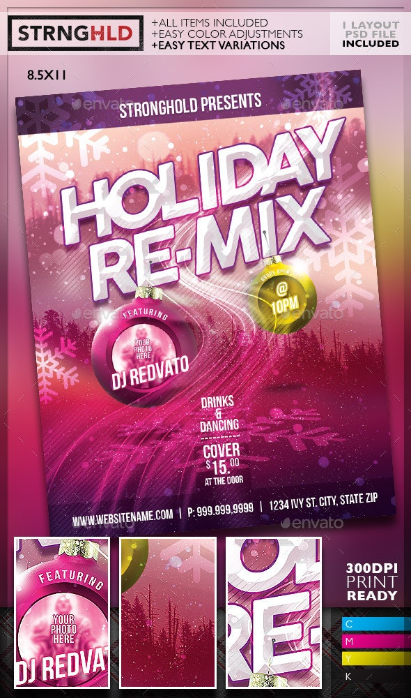 Holiday Re-mix Flyer Template - Holidays Events