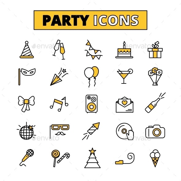 Party Pictograms Oitlined Icons Set - Abstract Icons