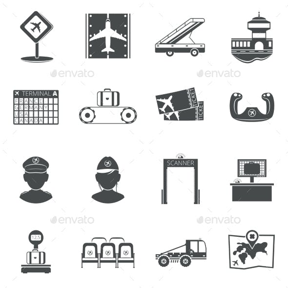 Airport Black Icons Set